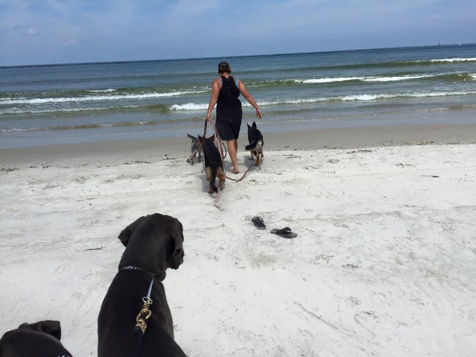 Sharon Burch goes to enjoy the water at the beach with three of her Cadets.