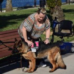 A service dog helping a woman sit down on a bench at a park.
